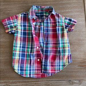 Madras short-sleeve button down collar shirt